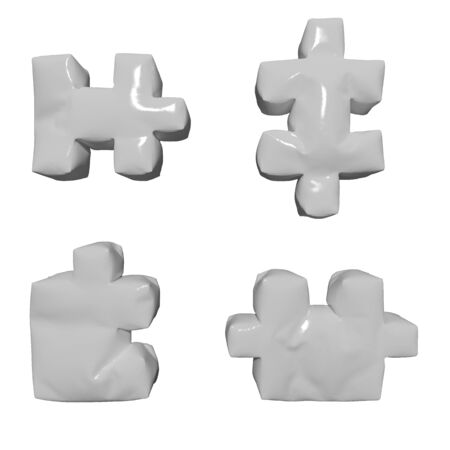 3 D glossy white puzzles on isolated background photo