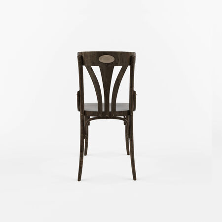 antique chair: Back view of 3 D retro chair on white background