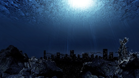 apocalypse: Underwater city skyline silhouette background Stock Photo