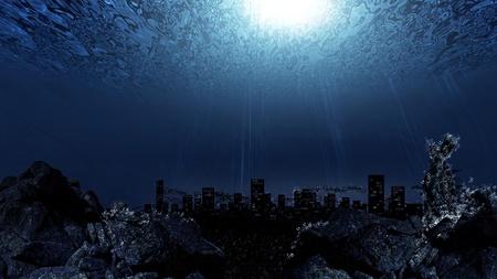 Underwater ville de fond la silhouette horizon Banque d'images - 10807323