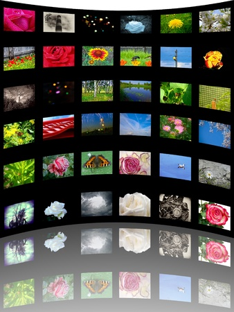 video wall: 3D view of colorful media gallery Stock Photo