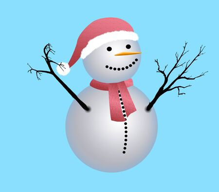 Illustration of snowman. Very good for greeting cards. illustration