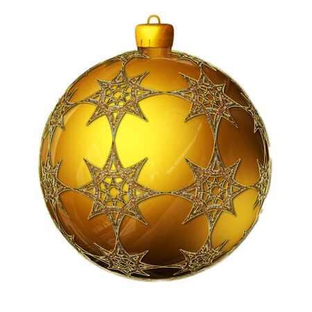 Big gold Christmas ball isolated on white photo