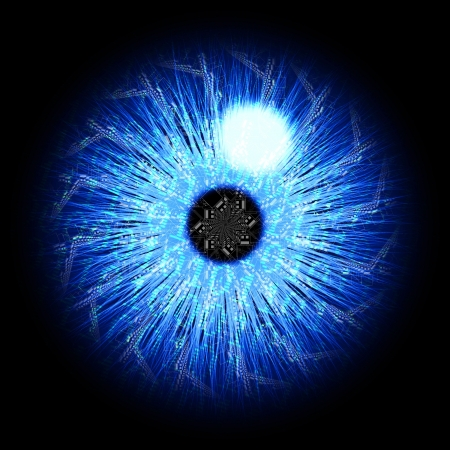 futuristic eye: Abstract blue digital blue iris Stock Photo