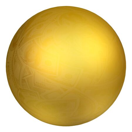 Big golden sphere and dollar reflection, isolated object Фото со стока - 11457430