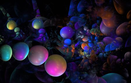 Abstract colourful 3D bubbles fractal background photo