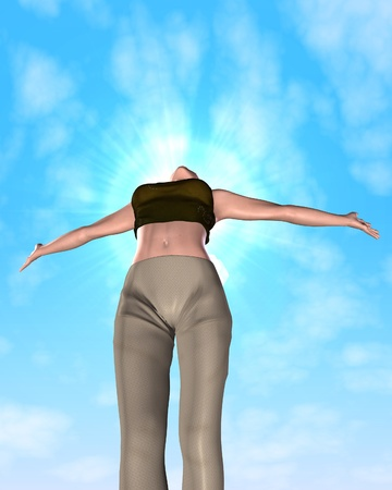 stretched out: A young woman with arms stretched out to the sky Stock Photo