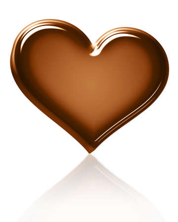 chocolate background: A 3d chocolate shiny heart, isolated object