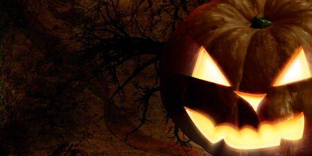 doom: Big scary halloween pumpkin face in the dark