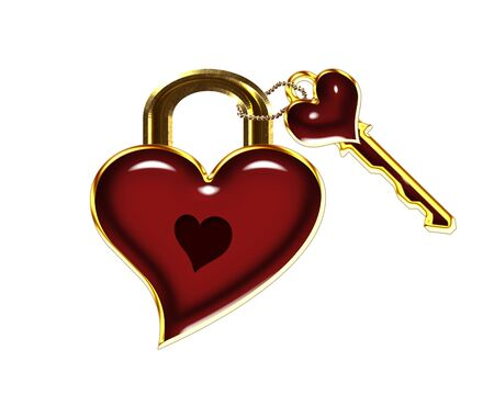 big red heart shaped lock and key  photo