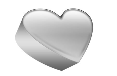 busyness: grey metal heart icon isolated on white  Stock Photo