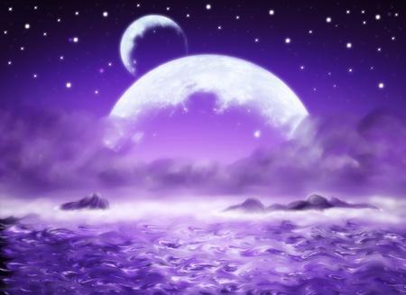 estrellas moradas: Big Planet, purpul agua de fondo de fantas�a, tierra de los sue�os