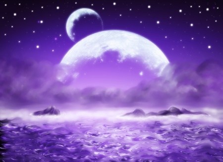 Big planet, purpul water fantasy background, dreamland