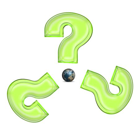Global sign mede from question signs and earth Stock Photo - 11466106