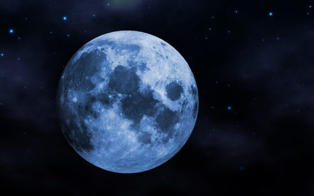 Blue moon and night sky abstract background