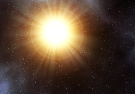 Big sun like star in the space