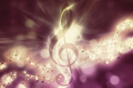 Violin key, music note symbol. Surreal music background  Stock Photo