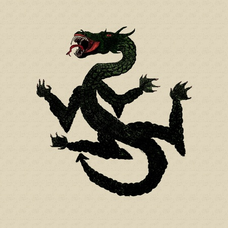 Grunge illustration of dragon on paper background