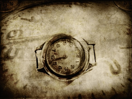 Old paper with clock texture abstract background photo