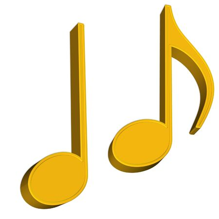 3D Musical notes on white background for design  photo