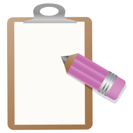 clipboard isolated: This is illustration of a Clipboard With Pencil.  Illustration