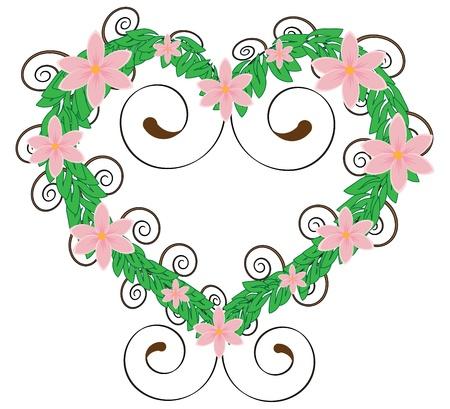 flourish frame: hart shaped flourish frame with pink flowers Illustration