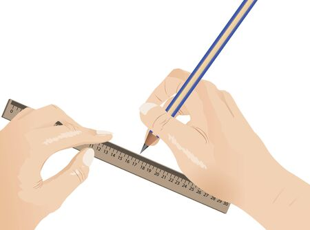 Human draw using pencil and ruler, isolated on white  Vector