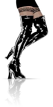 sexy stockings: Weibliche Beine in schwarzen Lederstiefeln