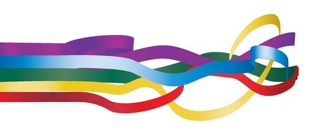 Set of Multicolored ribbons isolated on white background