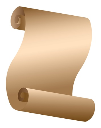 scroll up: Illustration of old paper scroll on white background  Illustration
