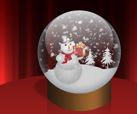Happy snowman holding gift box in Snow Globe. photo