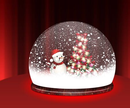 Happy snowman and Chrismas tree in Snow Globe. photo