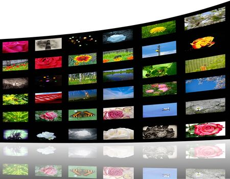 vod: 3D view of colorful media gallery Stock Photo