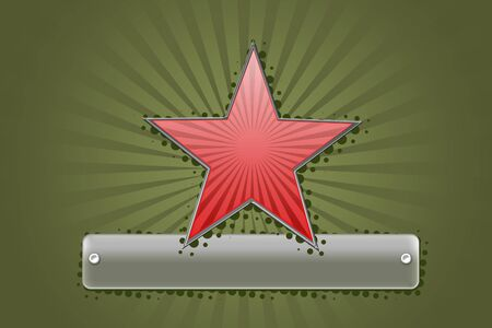 lable: Big red star on green background and metal lable