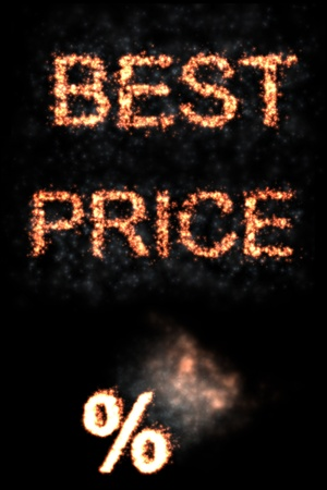 Burning fire words best price and symbol of percentage on black background Stock Photo - 11865105