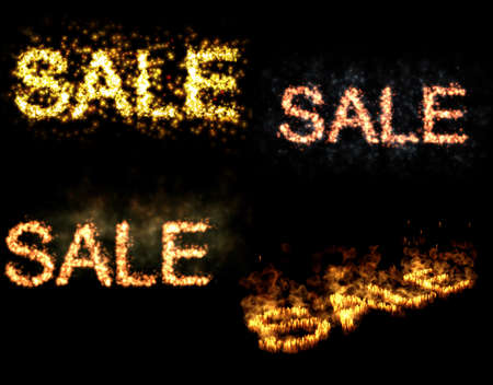 Fiery SALE words on black background Stock Photo - 11865078