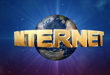 3d gold Internet symbol and space background. Stock Photo - 11974079