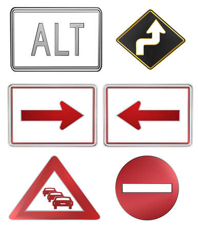 3d icon set, road signs isolated photo