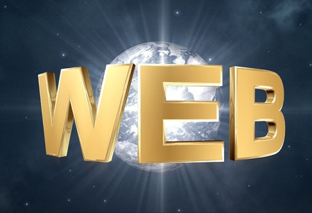 3d gold Web word, internet symbol and space background. Stock Photo - 12056978