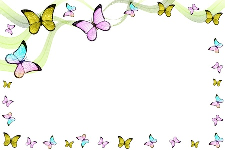 animal border: Creative colorful abstract frame with bautterflies and lines Stock Photo