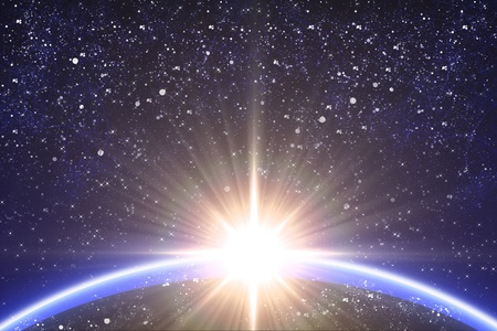 Big star and planet in the starry space. Stock Photo - 12273492