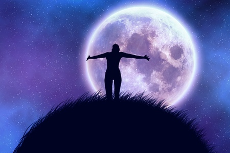 Big moon in the starry space and happy girl silhouette. Stock Photo - 12273540