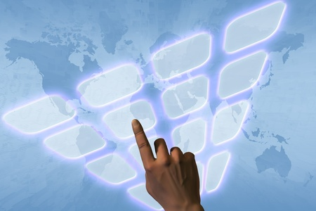 Hand pushing a button on a touch screen interface Stock Photo - 12694185