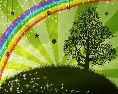Island with a rainbow and big tree silhouette. Stock Photo - 12695519