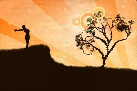 energia espiritual: Ilustraci�n de la silueta de la mujer con los brazos abiertos