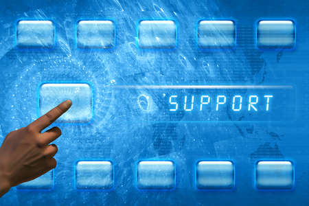 Hand pushing a support button on a touch screen interface Stock Photo - 12698481