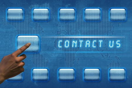 Hand pushing a contact us button on a touch screen interface Stock Photo - 12698484