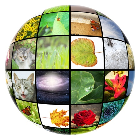 3D spherical colorful media gallery isolated