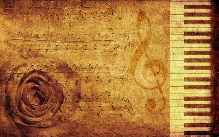 Abstract grunge rose and piano, vintage music background