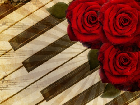 Abstract grunge roses and piano, vintage music background photo